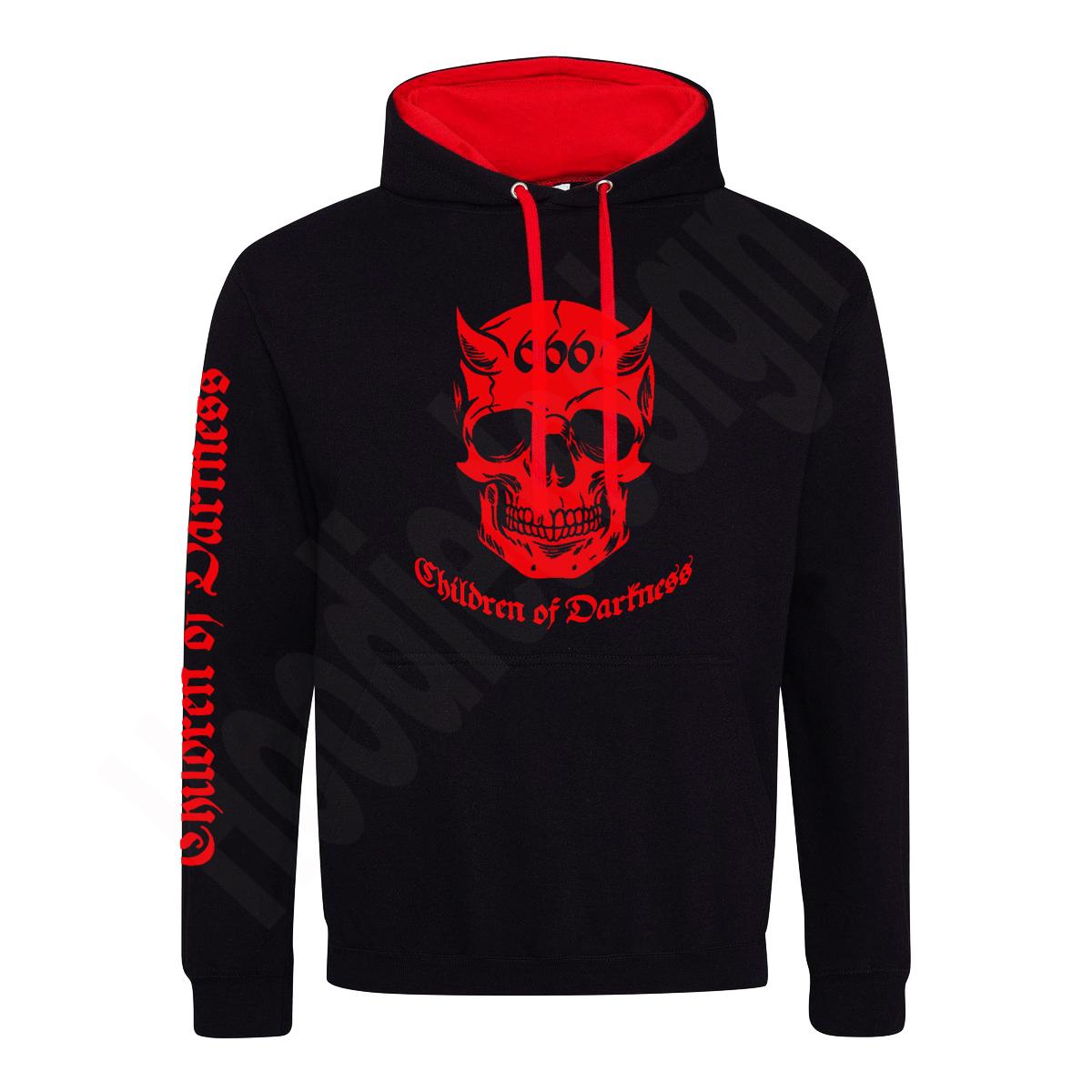 Kontrast Hoodie schwarz rot mit Gothic Motiv