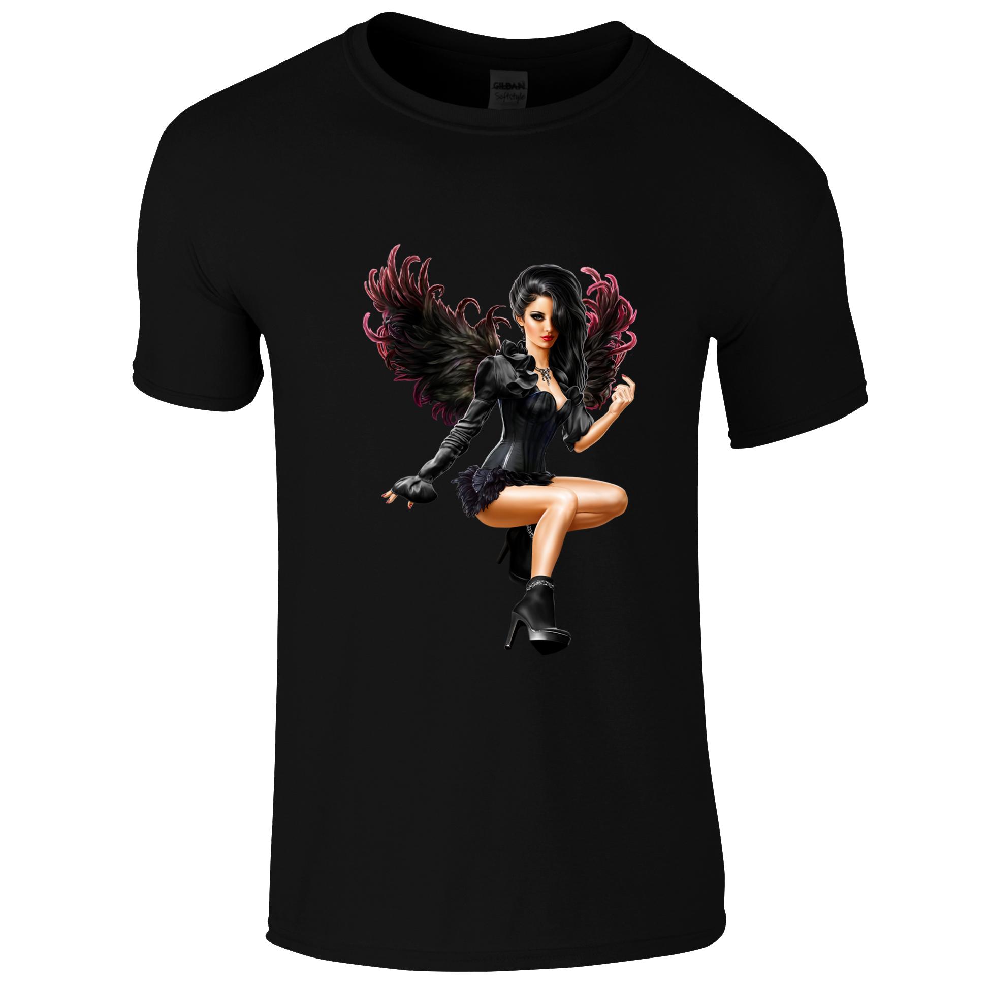 Schwarzes Gothic Shirt mit Frau mit Flügel