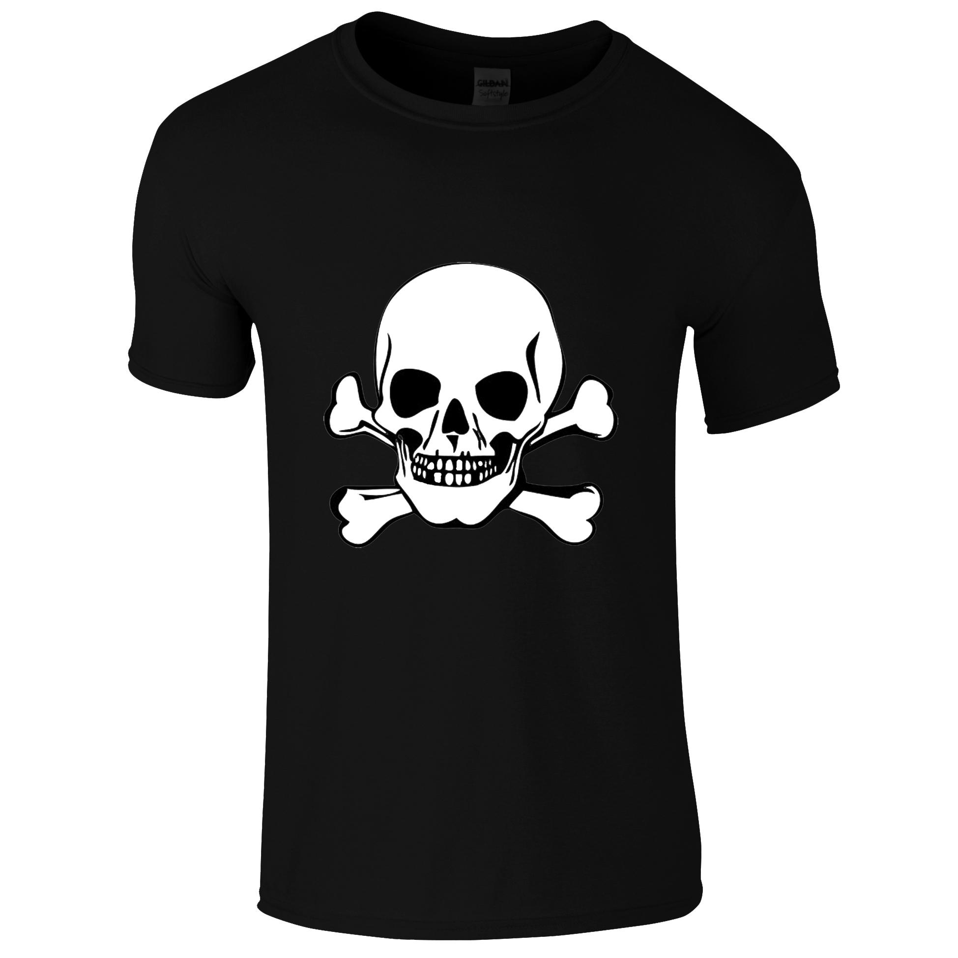 Schwarzes Gothic Shirt mit weissen Totenkopf