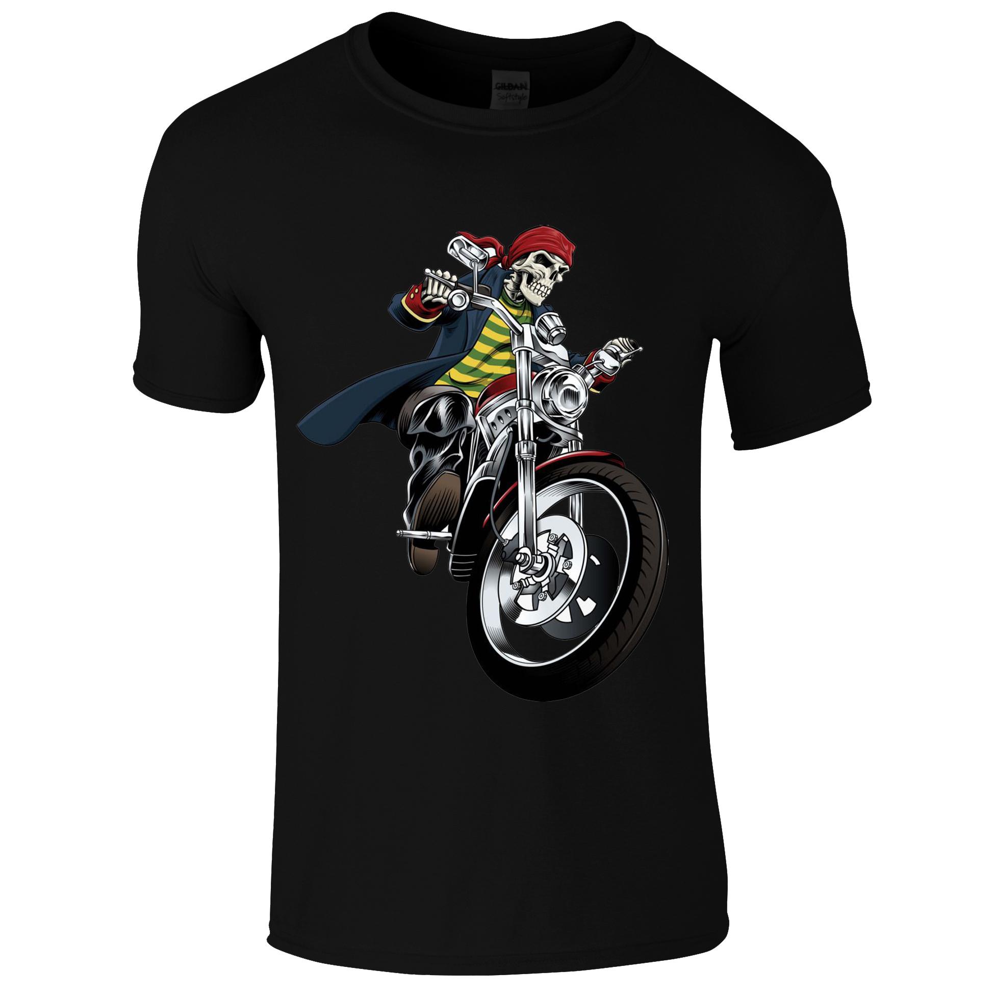 Schwarzes Biker Shirt mit Geist auf Motorrad
