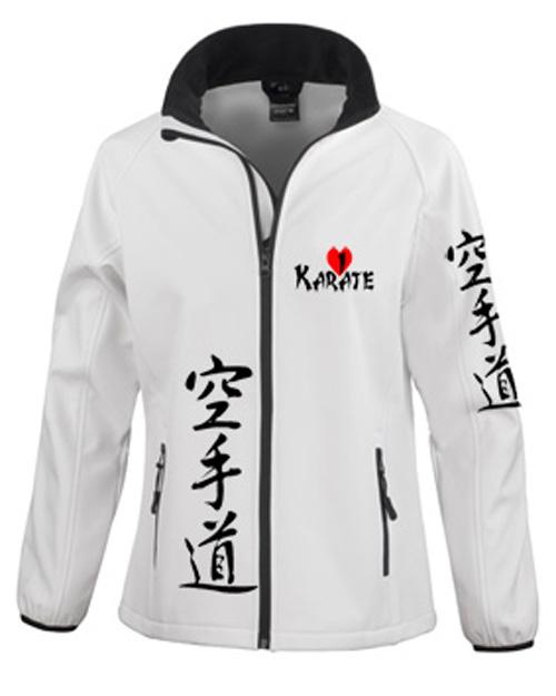 bedruckte Softshelljacke i love Karate und japanisch Karate Do