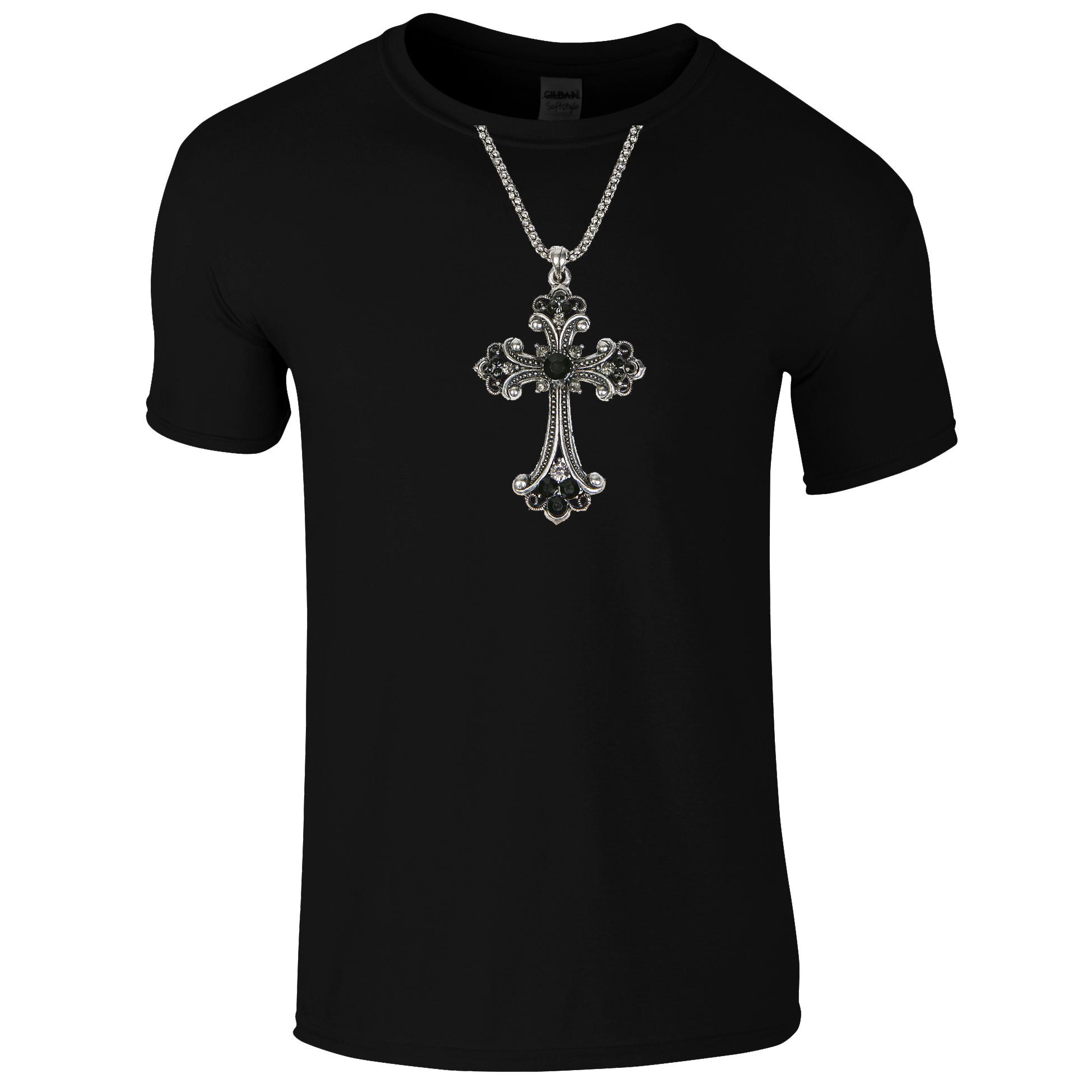 Schwarzes Gothic Shirt mit Kreuzkette