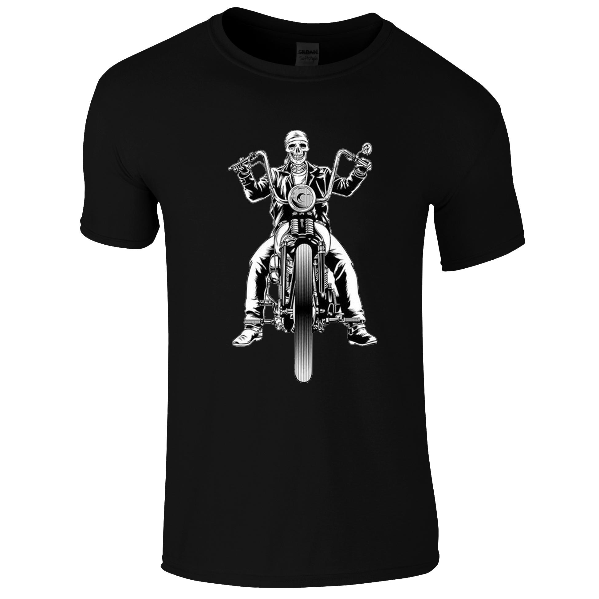 Schwarz Weiß Ghostrider auf schwarzen T-Shirt