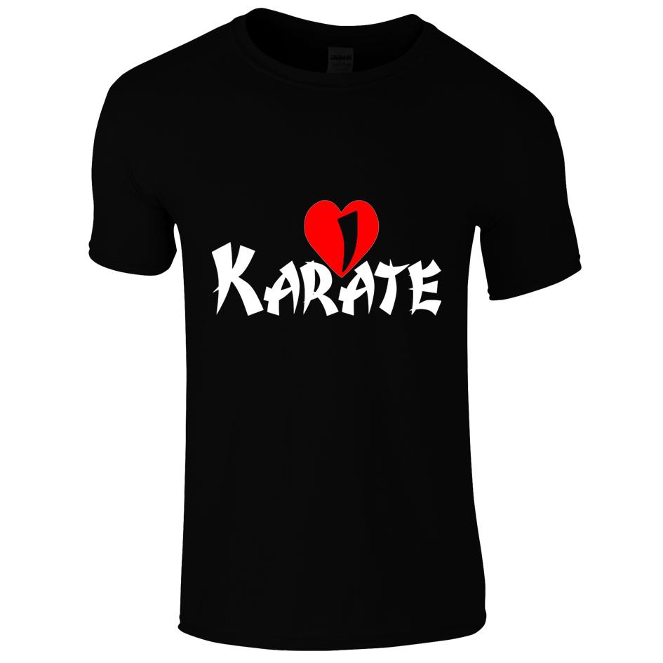 Schwarzes Baumwolle T-Shirt mit Aufdruck I love Karate
