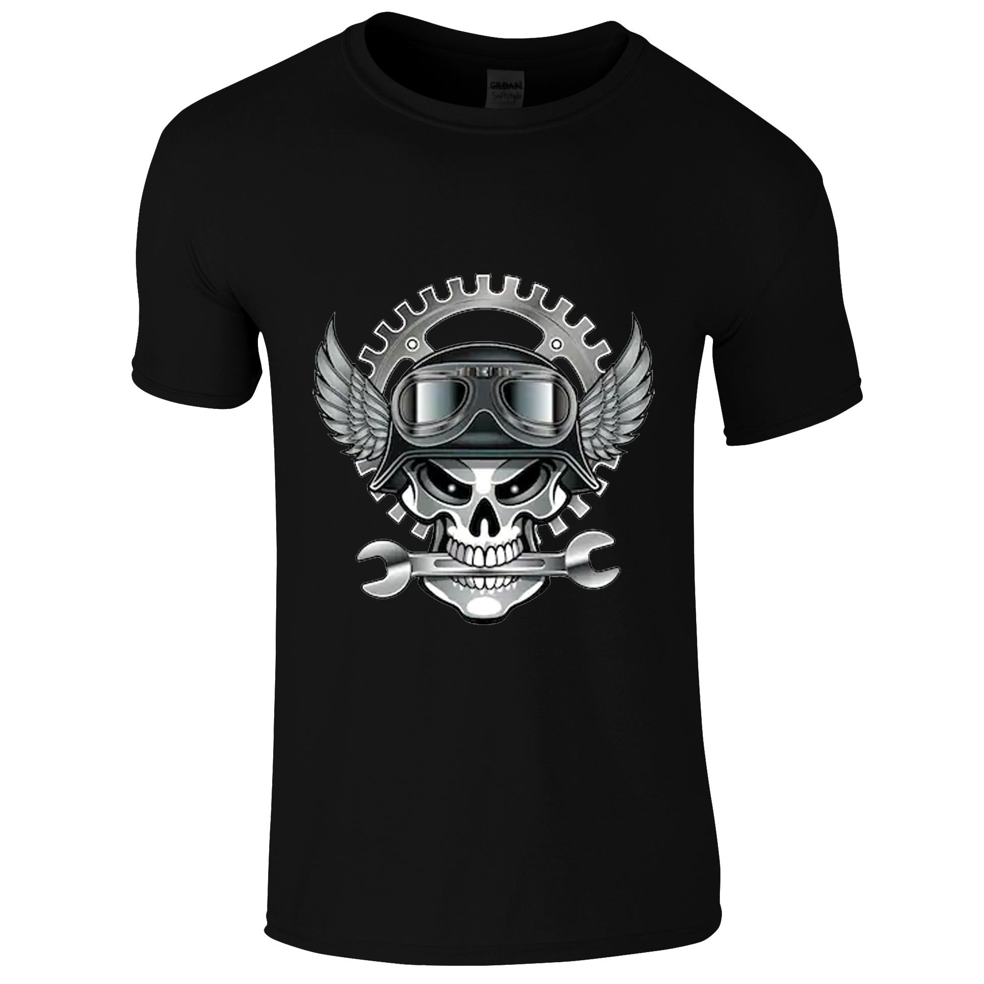 Schwarzes Biker T-Shirt mit Totenkopf als Mechaniker