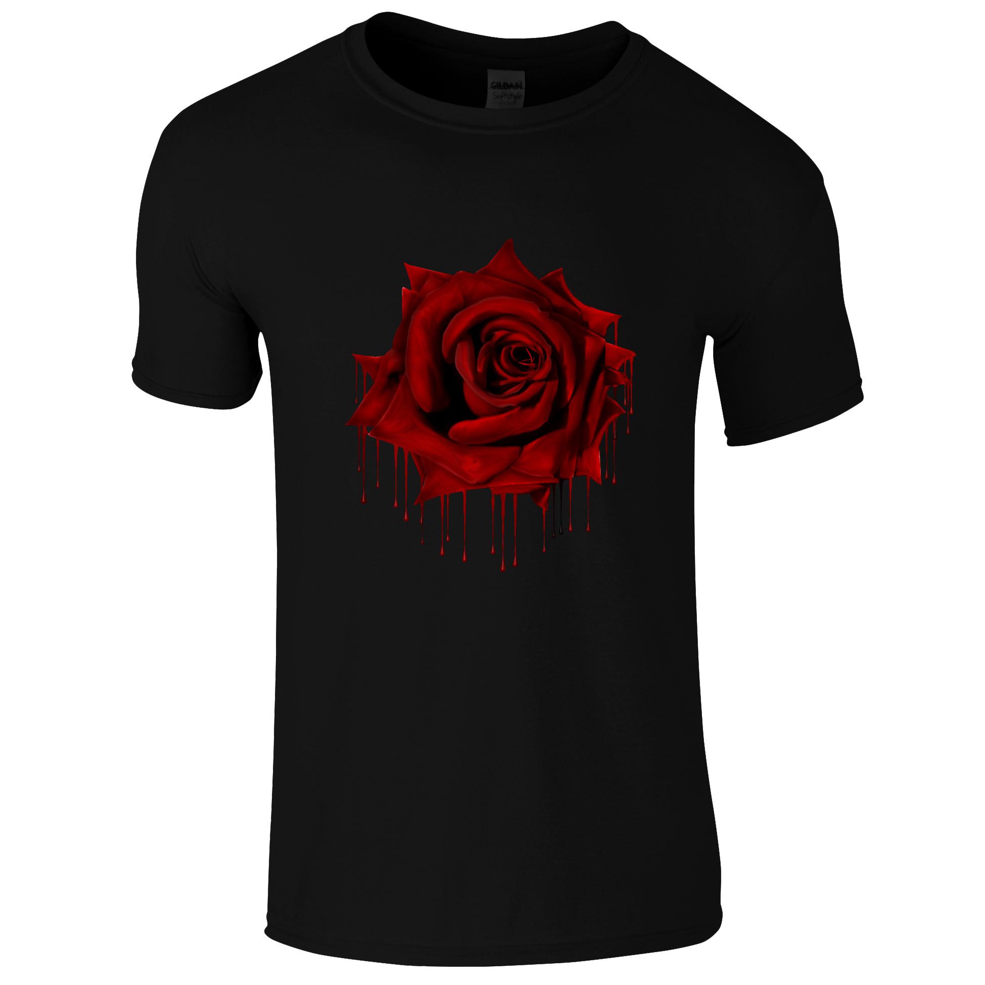 Schwarzes Gothic Shirt mit roter Rose