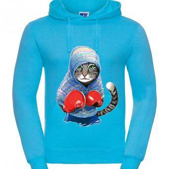 blauer Hoodie mit Kampfkatze