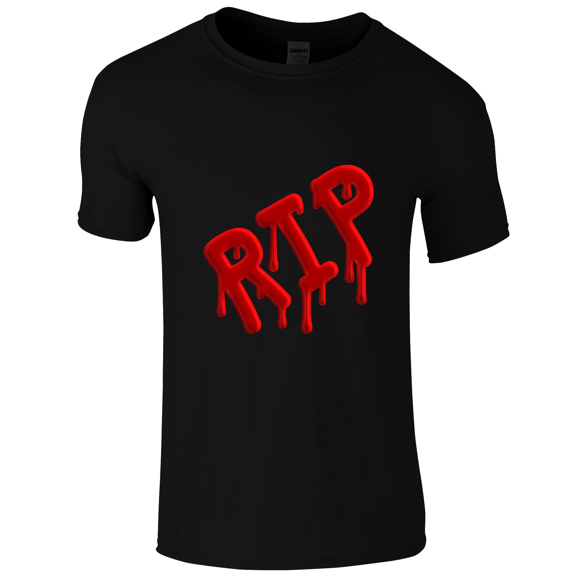 Schwarzes Gothic Shirt mit roter RIP Aufschrift