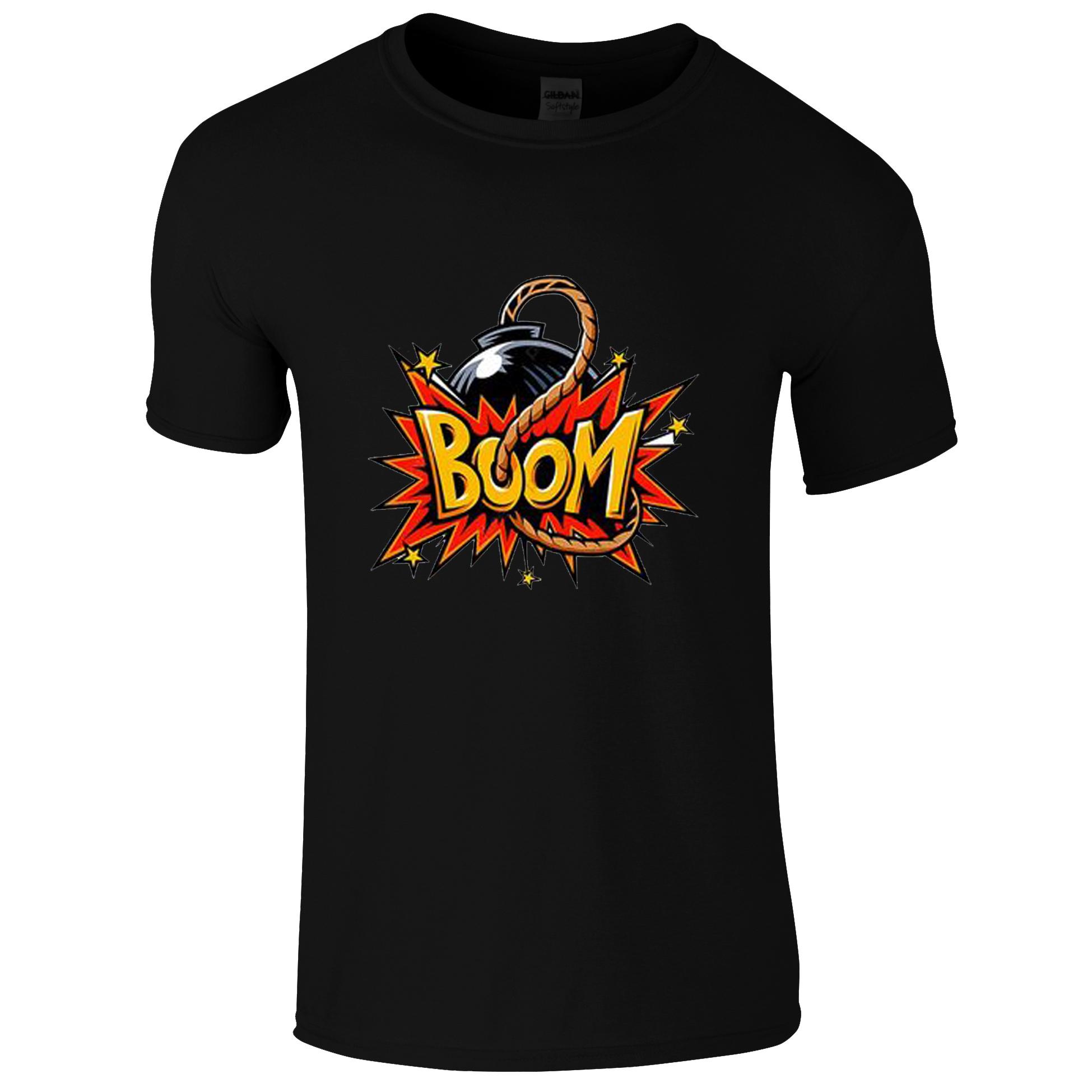 Schwarzes T-Shirt mit Explosiv Boom
