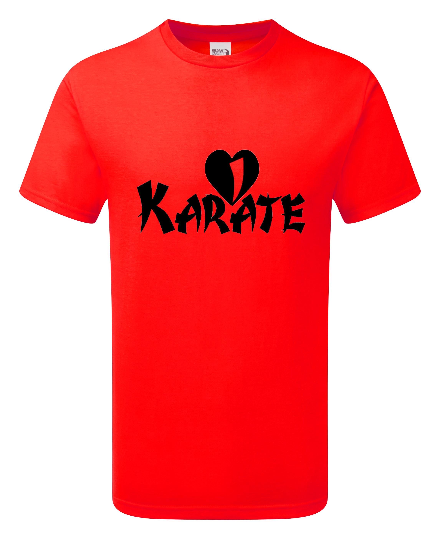 Baumwolle T-Shirt mit der Aufschrift i love Karate einfarbig