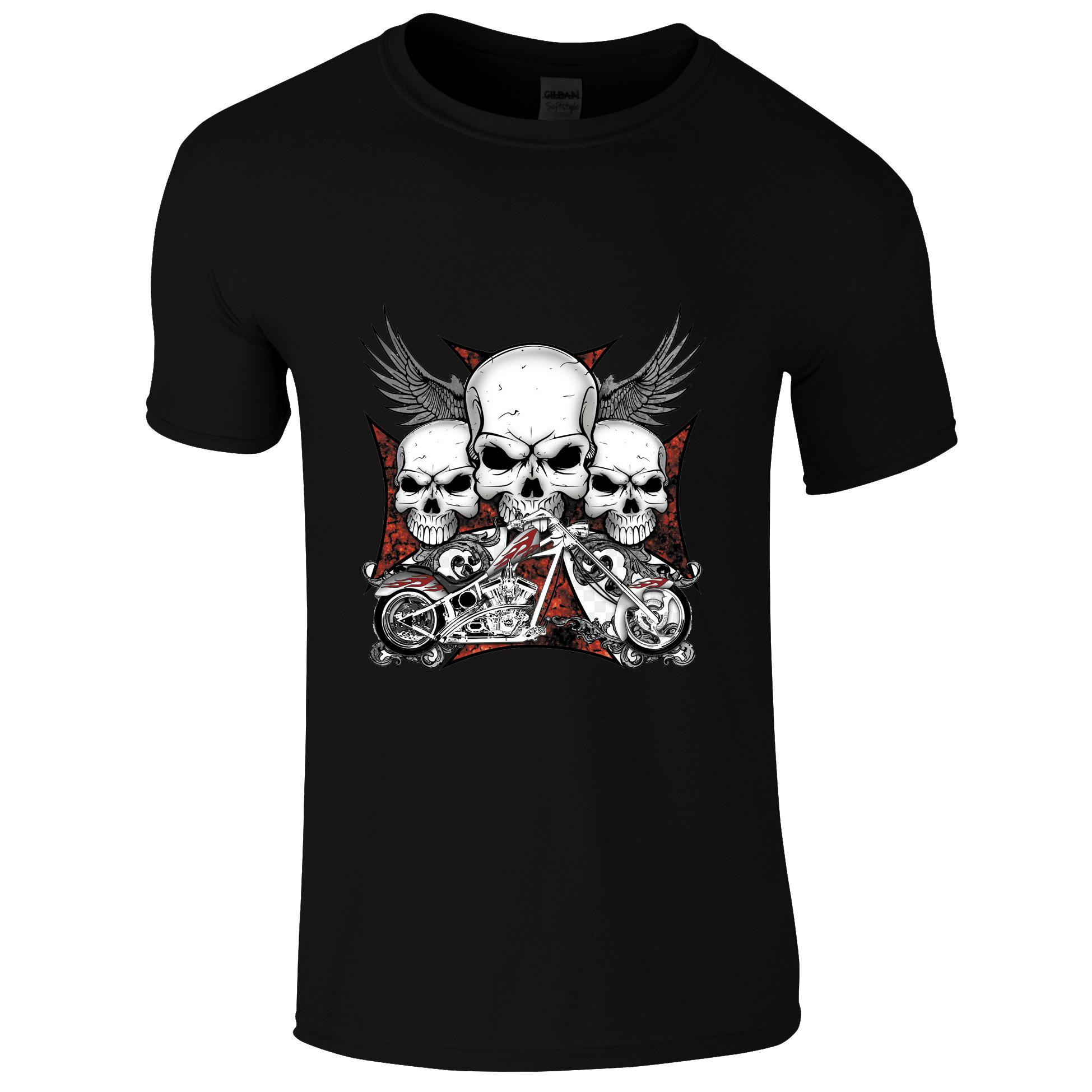 Schwarzes Biker T-Shirt mit 3 Totenköpfen